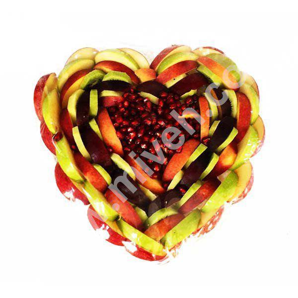 سینی میوه ( مدل قلب پاییز ) – سالاد میوه